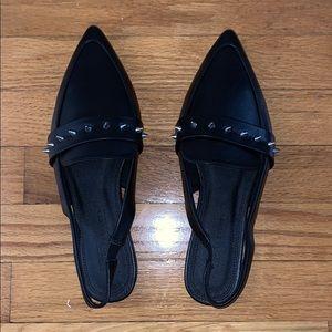 Studded Black Leather Sling Back Flat Loafers